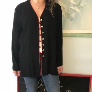 VINTAGE navy jacket with red and gold buttons